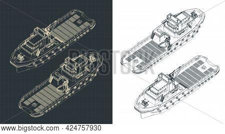 Anchor Handling Tug Isometric Blueprints