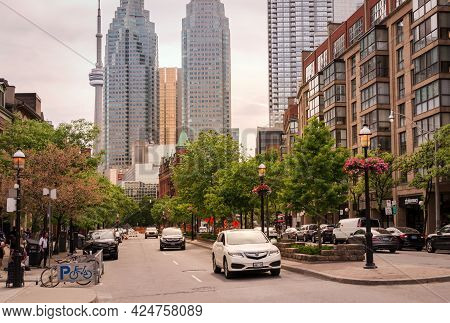 Toronto, Canada - 06 05 2021: Summer View Along Front Street With Brookfield Place Towers, Royal Ban