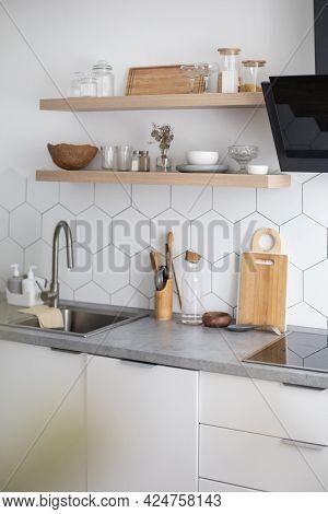 Empty Modern Kitchen Interior White Cosiness Apartment Cuisine Design Domestic Furniture Equipment