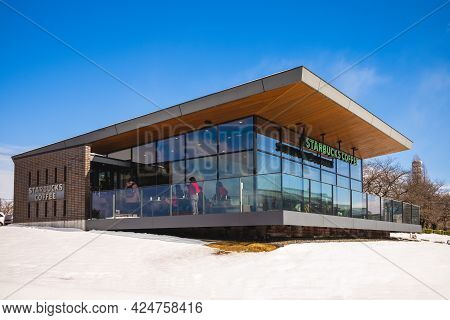 February 2, 2017: Starbucks Coffee Toyama Kansui Park Store Located Alongside The Fugan Canal In Toy