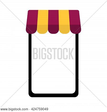 Shopping Online Concept. Smart Phone With Market Shop Yellow And Purple Awning Symbol For Graphic,ap