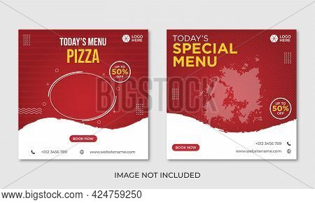 Pizza Menu Social Media Banner Design Template
