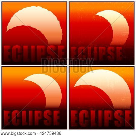 Several Stylized Vector Illustrations Of Partial Eclipse Of The Sun