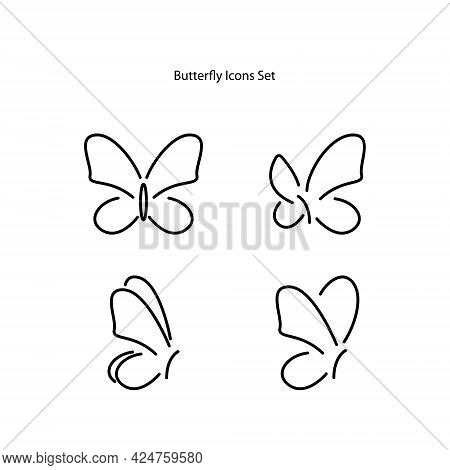 Butterfly Icons Set Isolated On White Background. Butterfly Icon Thin Line Outline Linear Butterfly