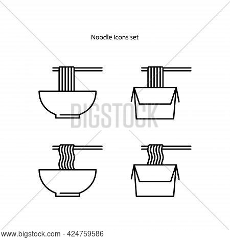 Noodles Icons Set Isolated On White Background. Noodles Icon Thin Line Outline Linear Noodles Symbol