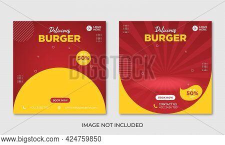 Burger Menu Social Media Banner Design Template