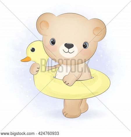 Cute Little Bear With A Swim Inflatable Rubber Ring Illustration