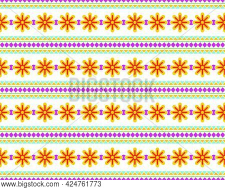 Beautiful Ethnic Seamless Pattern Elements Collection Design In Bright. Can Use Geometric Seamless D