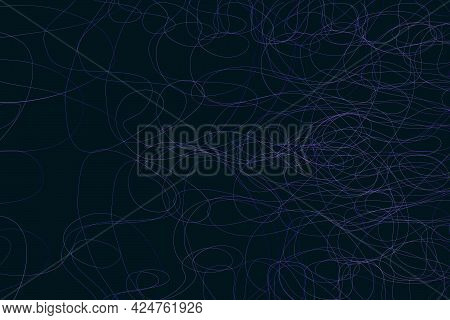 Abstract Pattern Randomly Arranged Lines By Contours Of Ellipses Design On Dark Background