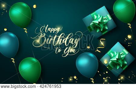 Happy Birthday Vector Banner Background. Happy Birthday To You Text With Party Elements Like Balloon