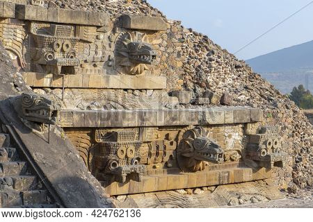 Temple Of Quetzalcoatl At Citadel In Teotihuacan In City Of San Juan Teotihuacan, State Of Mexico, M