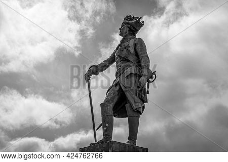 Emperor Paul Monument In The Town Of Pavlovsk, Russia. Ivan Vitali, 1872. Black And White.