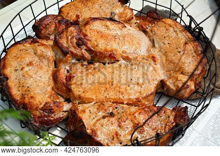 Fried Meat In In A Special Baking Dish In Tandoor.