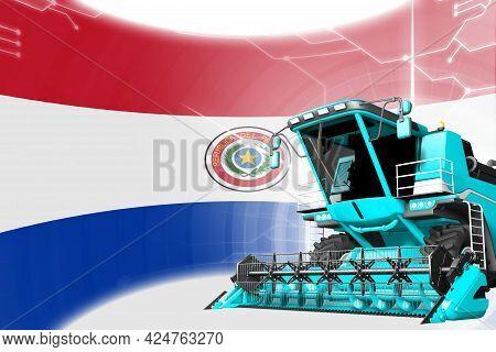 Digital Industrial 3d Illustration Of Blue Advanced Rye Combine Harvester On Paraguay Flag - Agricul