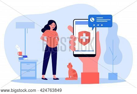 Calling Ambulance In Case Of Contractions. Flat Vector Illustration. Pregnant Woman Holding On To Be