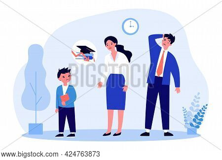 Parents Upset About Their Sons Poor School Performance. Male Pupil Crying Flat Vector Illustration.