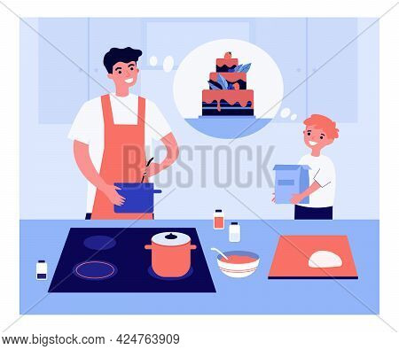 Father And Son Making Big Cake Flat Vector Illustration. Happy Kid Helping Dad, Holding Flour Packag