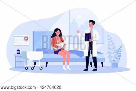 Woman Sitting In Ward And Breastfeeding Her Newborn Child. Flat Vector Illustration. Doctor Talking