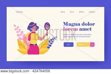 Old Woman Looking In Mirror And Smiling. Face, Hat, Beauty Flat Vector Illustration. Fashion And App