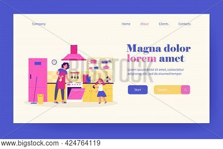 Happy Mother And Daughter Cleaning Kitchen Together Isolated Flat Vector Illustration. Cartoon Chara
