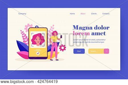 Face Recognition Concept. Woman Using Smartphone After Id Authentication. Vector Illustration For Sm