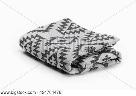 Luxurious Christmas Gift, Woolen Throw Blanket In Pendelton Style On A White Background.