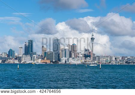 Auckland City Skyline From Stanley Bay On North Shore New Zealand.