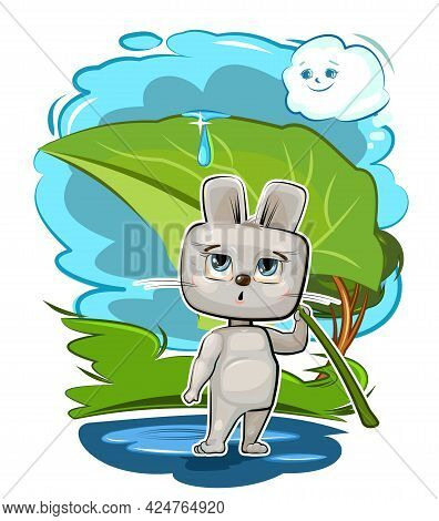 Little Hare. Cartoon Style. Young Cub. Vector. Cute Baby.