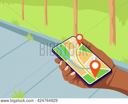 Hand Holding Mobile Phone With Map On Screen Vector Illustration. Navigation App Showing Correct Rou