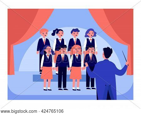 Childrens Choir With Conductor On Stage Flat Vector Illustration. Pupils Singing At School Concert.
