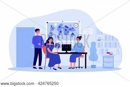 Cartoon Man And Woman Turning To Travel Agency. Flat Vector Illustration. Wife And Husband, Happy Co