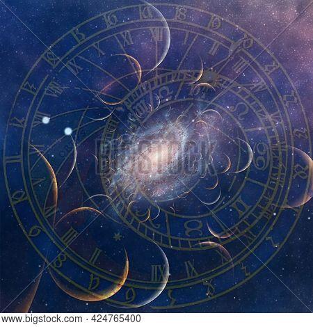 Medieval astronomical clock. 3D rendering.