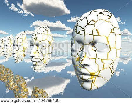 Disembodied faces or masks hover in surreal scene. 3D rendering.