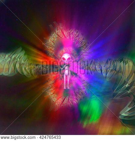 Alien and DNA strand fractal composition. 3D rendering
