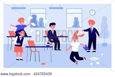 Children Having Fun In Classroom While Teacher Absent. Flat Vector Illustration. Girls And Boys Goin