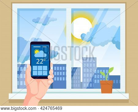 Hand Holding Mobile Phone With Weather App Vector Illustration. Checking Weather Forecast Before Lea
