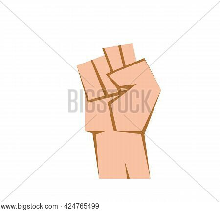 Raised Fist On A White Background. Vector Clenched Fist. Brown Outline And Beige Fill. Eps 10. Vecto