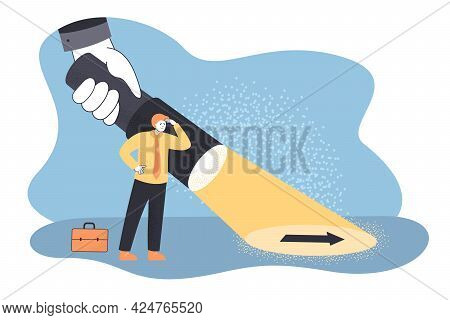 Giant Hand Holding Flashlight Guiding Business Person. Businessman Or Detective Searching For Soluti