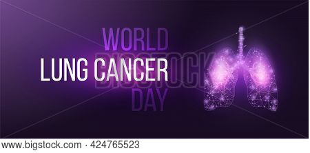World Lung Cancer Day Concept. Banner Template With Glowing Low Poly Lungs.