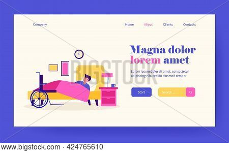 Sad Disabled Young Man Resting In Bed. Insomnia, Wheelchair, Night Flat Vector Illustration. Disabil