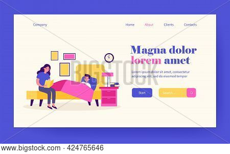 Mom Reading Bedtime Book To Son. Happy Kid Lying In Bed Flat Vector Illustration. Childhood, Parenth