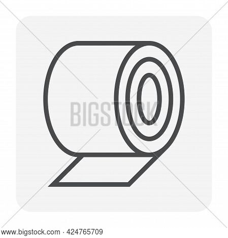 Roll Steel, Steel Coil Or Sheet Metal Vector Icon. Industrial Product Manufacturing Or Production Fr