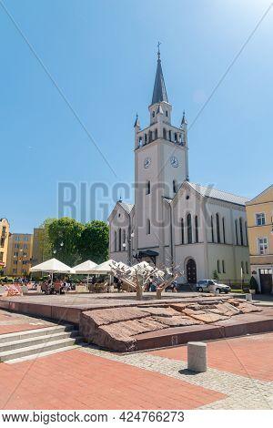 Bytow, Poland - May 31, 2021: Church Of St. Catherine Of Alexandria And St. John The Baptist On Mark