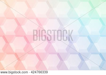 Rainbow paper craft hexagon patterned background