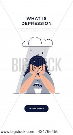 Depression Banner. Sad, Unhappy Teenage Girl Is Melancholy, In Despair, Sorrows About Sad Event. Men