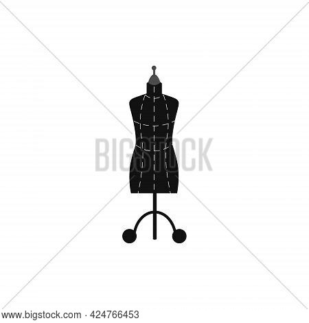 Card With A Picture Of A Sewing Mannequin. Vector Illustration Isolated On White Background. For Use