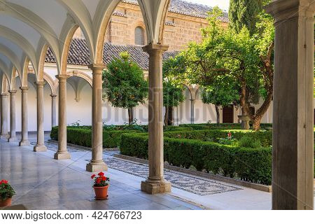 Granada, Spain - May 20, 2017: It Is A Gallery Around The Cloister Of The Baroque Medieval Carthusia