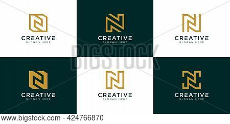 Set Of Initial Letter N Abstract Logo Vector Template