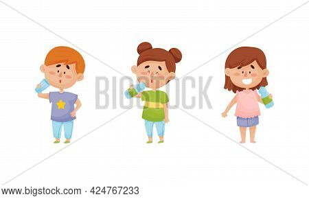 Kid Characters Standing And Drinking Still Mineral Water From Plastic Bottle Vector Illustrations Se