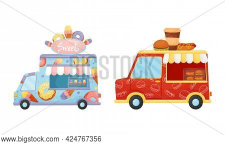 Food Truck Or Van Selling Sweet Confectionery And Coffee Vector Set